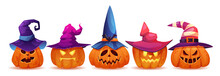 Glowing Halloween Pumpkins Wearing Witch Hats, Isolated Male And Female Personages. Autumn Holiday Symbol And Celebration, Evil And Good Facial Expression. Realistic Cartoon Character Vector