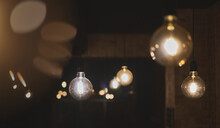 Retro Style Led Light Bulbs In The Shape Of A Sphere Hanging Fro