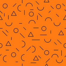 Abstract Orange Pattern. Vector Simple Geometric Shapes And Orange Background.