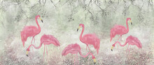 Cute Exotic Flamingos, Tropical Pattern Photo Wallpaper In The Room, Texture Background