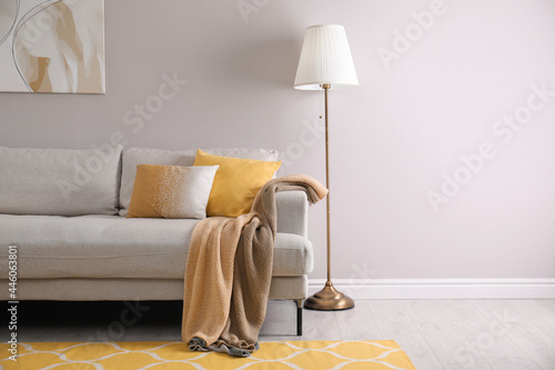 Comfortable sofa with cushions and plaid in stylish living room, space for text. Interior design