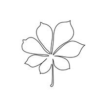 Chestnut Leaf Continuous Line Drawing. One Line Art Of Tree Leaves, Herb, Plants.