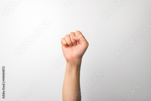 Fotografie, Obraz A man's hand making an expression on a white background