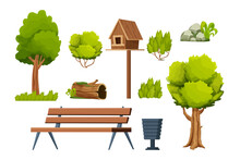 Park Set Of Elements, Wooden Bench, Trees, Bush, Stone With Moss, Old Log, Birdhouse, Bin In Cartoon Style Isolated On White Background.