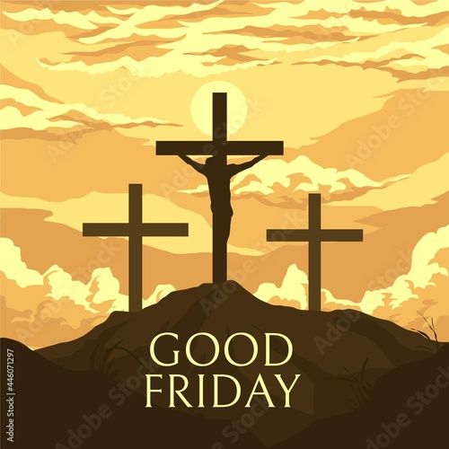 Fotografering Good Friday Illustration With Crosses