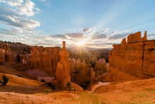 A Summers Sunrise In Bryce Canyon Amphitheater Over Thor's Hammer