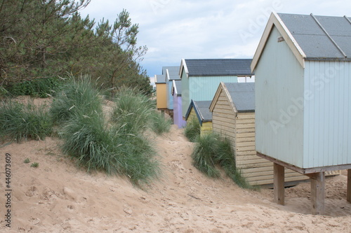 Carta da parati Landscape of beach huts on beautiful sandy beach coastline at Wells-Next-the-sea