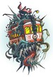 Cartoon psychedelic old retro red tramway with monster canines, eye, tentacles and big mushrooms on the roof. Isolated vector tattoo on white background.