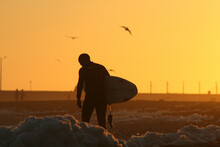 Surfer Coming Out Of The Water With A Backlight In The Sunset.
