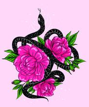 Black Viper In Rose Bouquet. Vector Hand Drawn Illustration. Tattoo Sketch, T-shirt Print, Sticker Design