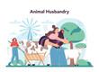Farmer concept. Animal husbandry business. Farm worker feeding animals
