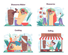 Shawarma Street Food Concept Set. Chef Cooking Delicious Roll With Mea