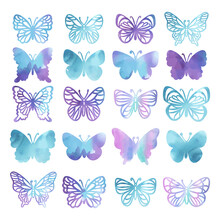 WATERCOLOR BUTTERFLIES Silhouettes Of Beautiful Summer Purple Tropical Insects On White Background Hand Drawn Cartoon Clipart Vector Illustration Set For Print