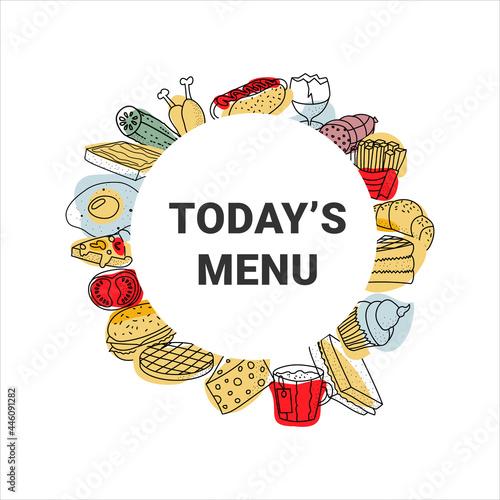 Today's menu banner vector illustration. Tasty food flyer. Fototapeta