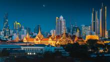 The Golden Grand Palace Of Bangkok, Thailand, Night Scene Skyline View Cityscape Of Wat Phra Keaw, Temple Of Siam The Emerald Buddha, Famous Landmark Tourism, Amazing Beautiful Destination Of Thailand