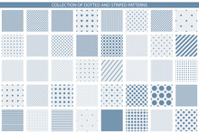 Collection Of Vector Geometric Seamless Patterns - Minimalistic Design. Simple Dotted And Striped Textures - Endless Backgrounds. Blue And White Textile Repeatable Prints