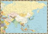 Old retro map of Asia
