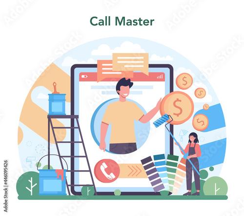 Fotografie, Obraz Home master online service or platform. Repairman applying