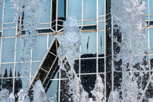 Frozen Water From Fountain In Front Of Reflective Office Building In Downtown Pittsburgh
