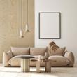 Leinwandbild Motiv mock up poster frame in modern interior background, living room, minimalistic style, 3D render, 3D illustration