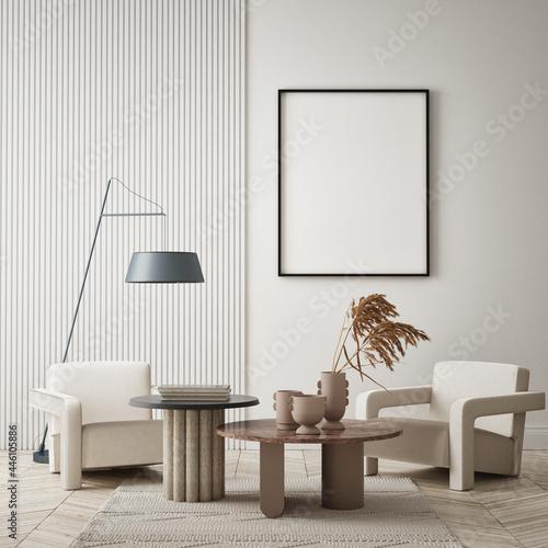 Fototapeta mock up poster frame in modern interior background, living room, minimalistic st
