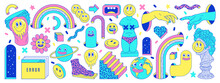 Sticker Pack Of Funny Cartoon Characters, Greek Ancient Statues, Emoji And Surreal Elements In Psychedelic Weird Style.
