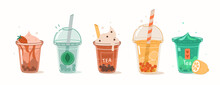 Bubble Tea Soft Drinks With Different Flavors Such As Coffee, Mocha, Lemon.  Yummy Summer Beverage Collection. Flat Cartoon Vector Illustration.