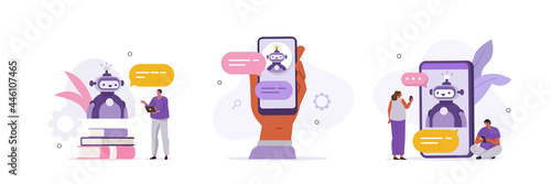 Fotografie, Obraz Customers having dialog with chatbot on smartphones