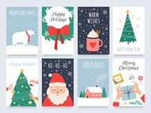 Scandinavian Christmas Cards. Cozy Winter Holiday, Noel And New Year Celebrations With Cute Santa, Polar Bear And Tree Decoration Vector Set