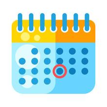 Illustration Of Calendar. Cartoon Stylized Item. Icon On White Background.