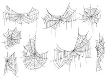 Beautiful Spider Web. Halloween Decor. Decoration For The Holiday. Vector Illustration Isolated On Background.
