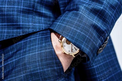 Valokuva Luxury watch worn on male wrist