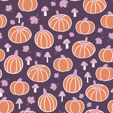 Autumn Pumpkins, Maples Leaves, And Mushrooms Seamless Pattern Background