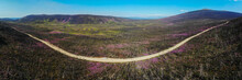 Panoramic Landscape View Of A Road Running Through Wilderness Area In Yukon Territory Heading To Ethel Lake  With Blue Sky, Pink Flowers.