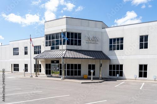 Fototapeta premium Brampton, On, Canada - July 10, 2021: Inox Industries Inc head office in Brampton, On, Canada. Inox Industries Inc is part of the Iron and Steel Mills and Ferroalloy Manufacturing Industry.