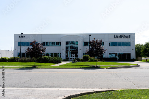 Fototapeta premium Mississauga, On, Canada - July 10, 2021: UniFirst Canada head office in Mississauga, On, Canada. UniFirst Corporation is an American company supplies uniforms and protective clothing.