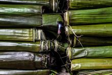 Pile Of Mush Wrapped In Banana Leaf. São Joaquim Fair, Salvador, Bahia, Brazil.