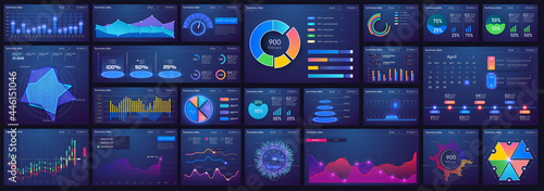Dashboard infographic template with flat design charts, diagrams, bars steps, infographics, options, parts processes. UI, UX, collection. Interface screen with infographic digital illustration