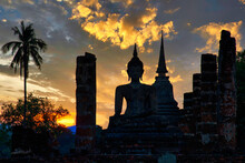 Landscape Wat Mahathat Temple In The Precinct Of Sukhothai Historical Park, A UNESCO World Heritage Site In Thailand