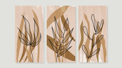 Fototapeta na wymiar Mid century modern triptych wall art vector. Abstract art background with floral leaves and flower line drawing and watercolor organic shapes hand paint design for wall decor, poster and wallpaper.