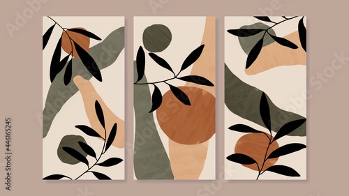 Mid century modern triptych wall art vector. Abstract art background with floral leaves and flower line drawing and watercolor organic shapes hand paint design for wall decor, poster and wallpaper.