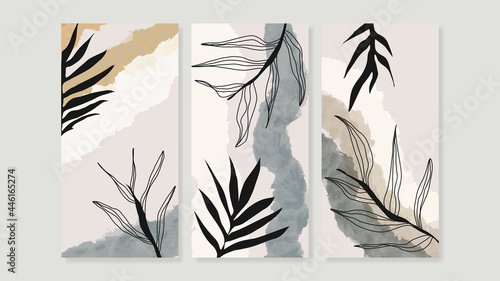 Photographie Mid century modern triptych wall art vector