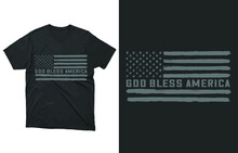 GOD Bless America T-shirt Vector Design, 4th Of July, USA Cross, Red White Blessed, Patriotic Shirt, Christian Shirt