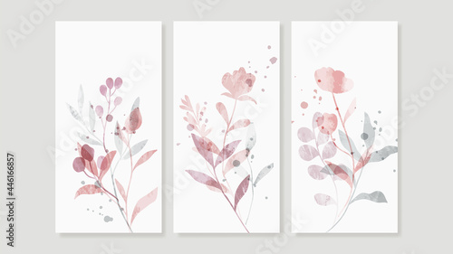 Flower watercolor art triptych wall art vector. Abstract art background with sweet orange and pink Floral Bouquets, Wildflower   and leaf  hand paint design for wall decor, poster and wallpaper.
