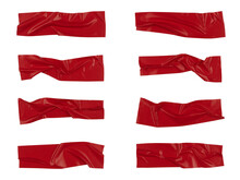 Red Wrinkled Adhesive Tape Isolated On White Background. Red Sticky Scotch Tape Of Different Sizes.