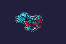 Eagle Cartoon Character Logo Vector Template