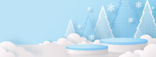 Christmas And New Year Podium Background Vector Design 3d Products Or Show Cosmetic Product Display. Stage Pedestal Or Platform. Winter Christmas Red Background.