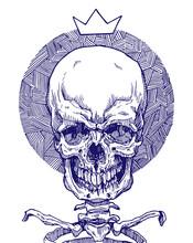 Illustration Of Purple Skull And Circular Pattern.