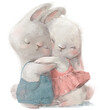 cute cartoon hares couple in wedding costumes