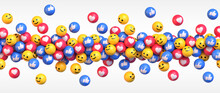Get More Likes. Many Flying Blue Red And Yellow Balls With Social Media Icons. Vector Illustration